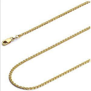 14k Yellow and White Gold Solid 2mm  Chain